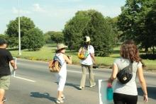 Walking the median